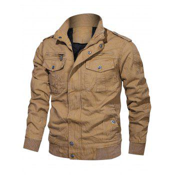 Creased Zip Up Multi Pockets Cargo Jacket