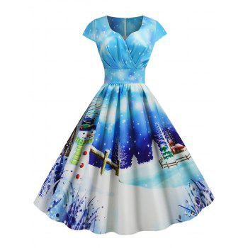 Christmas Castle Santa Claus Tree Print Surplice Dress