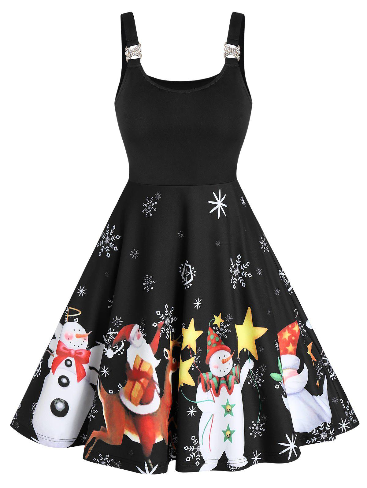 Christmas Santa Claus Snowman Print Sleeveless Flare Dress - multicolor A 2XL