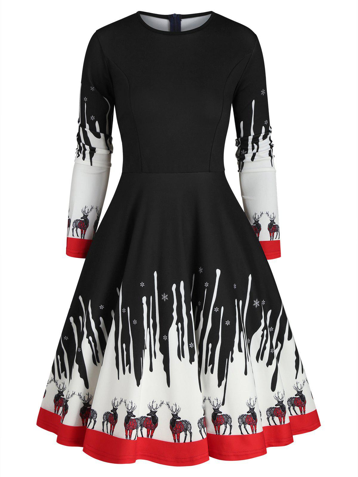 Reindeer Snowflake Christmas A Line Dress - BLACK 3XL
