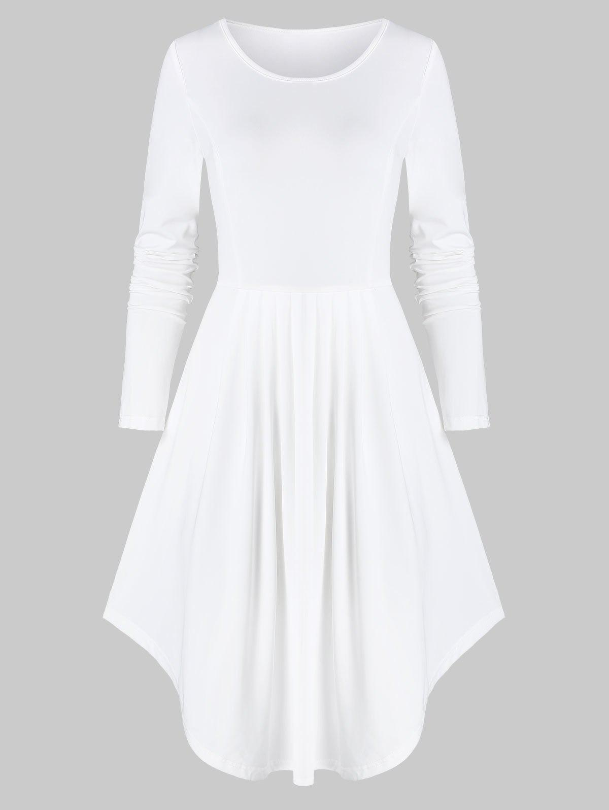 Long Sleeve Curved Hem Pleated Dress - WHITE 2XL