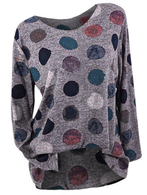Plus Size Dotted Long Sleeve T-shirt - COFFEE 1X
