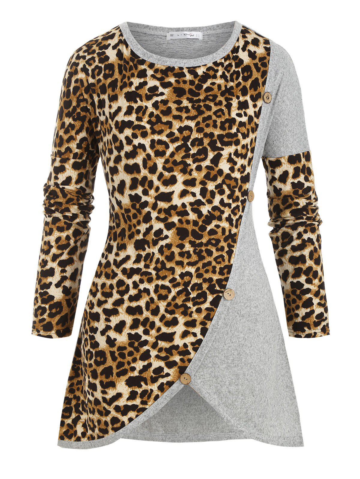Leopard Panel Crew Neck Buttoned Plus Size Knitwear - GRAY L