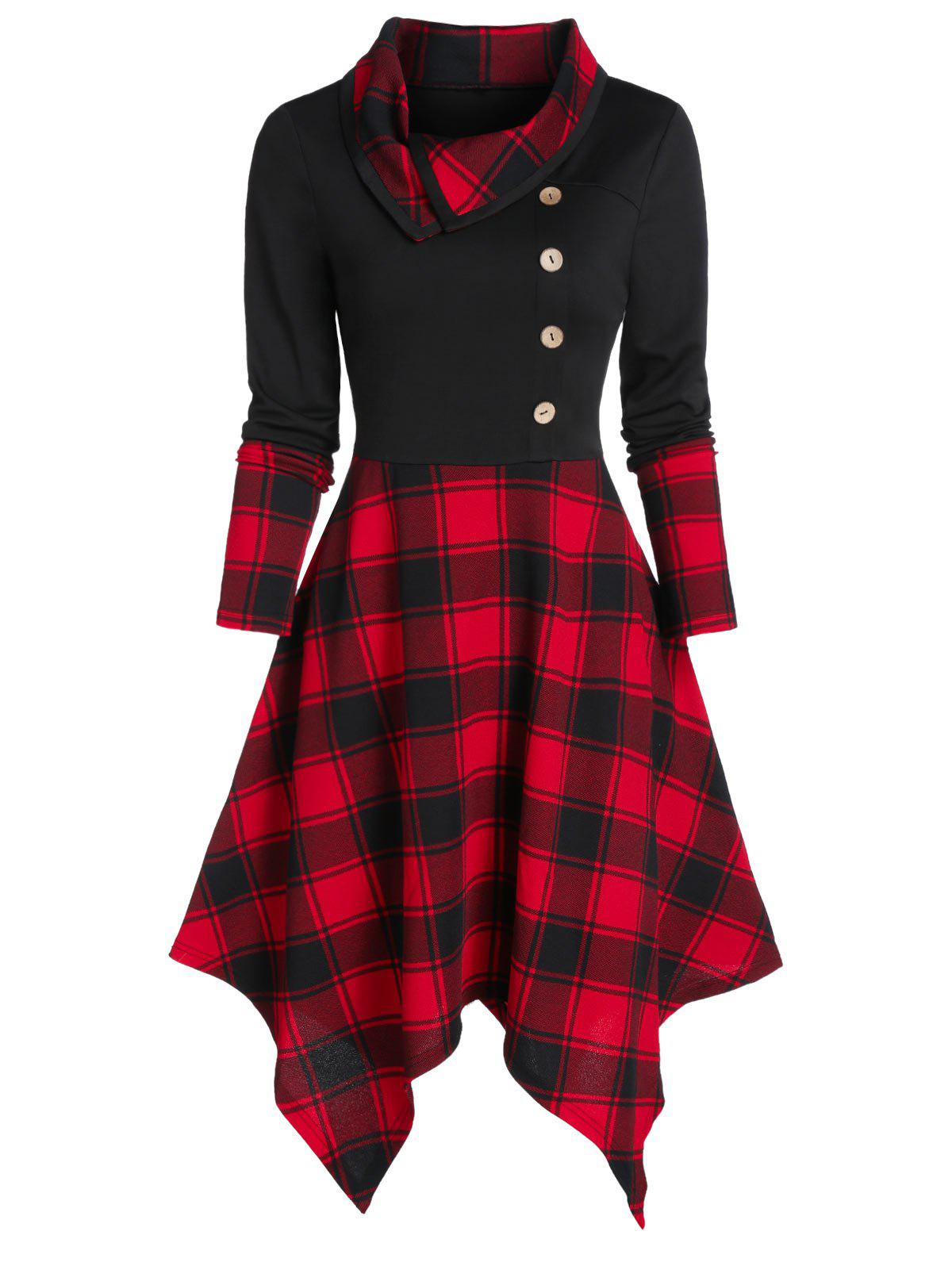 Mock Button Plaid Print Handkerchief Dress - BLACK L