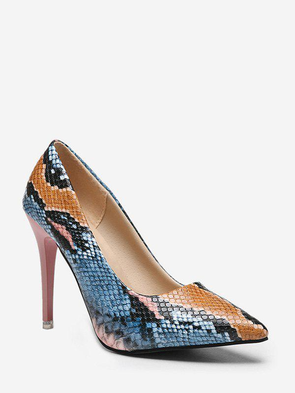 Stiletto Heel Snake Pattern PU Leather Pumps - PINK EU 38