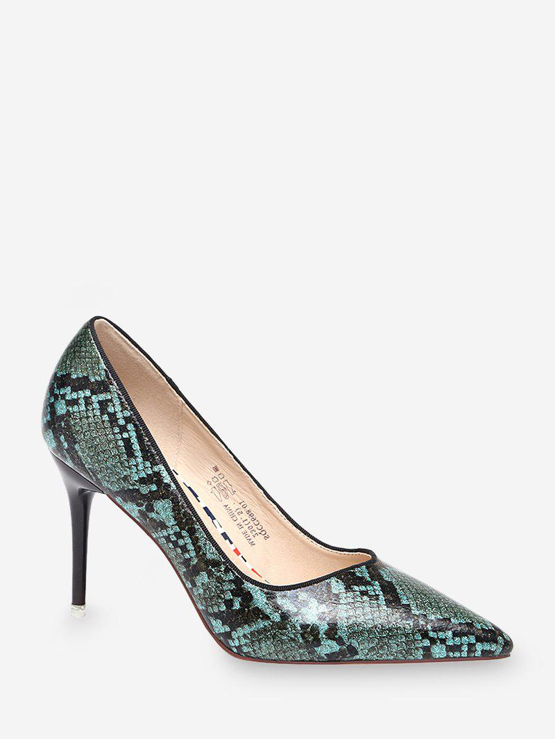 High Heel Snake Pattern Faux Leather Pumps - MEDIUM SEA GREEN EU 39