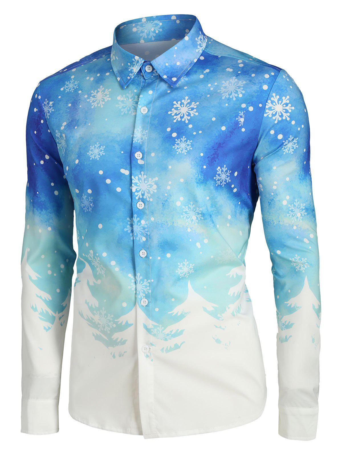 Plus Size Christmas Tree and Snowflake Print Button Up Shirt - multicolor 2XL