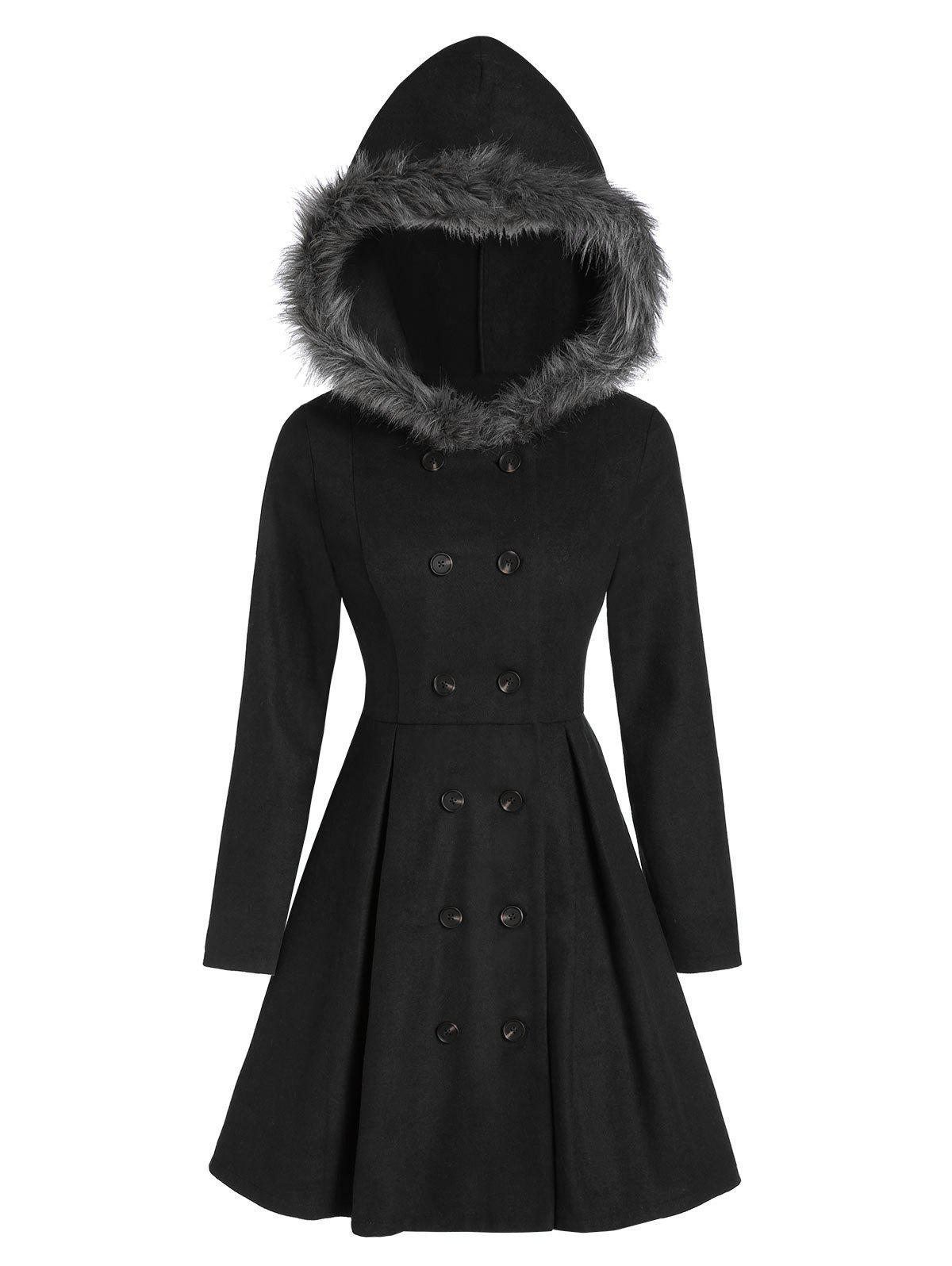 Double Breasted Fur Hooded Long Coat - BLACK 3XL
