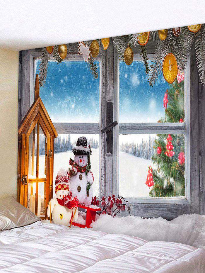 Christmas Tree Snowman Window Print Wall Tapestry - multicolor W59 X L51 INCH