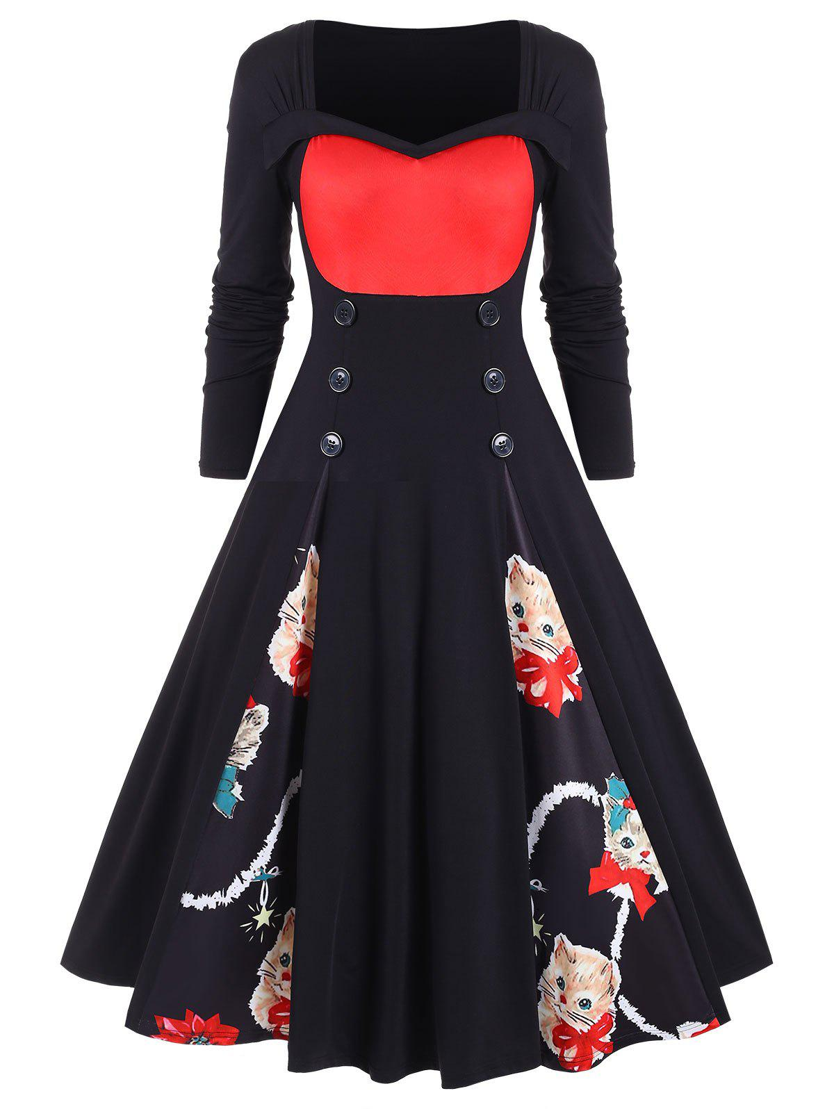Plus Size Vintage Christmas Printed Pin Up Dress - RED L