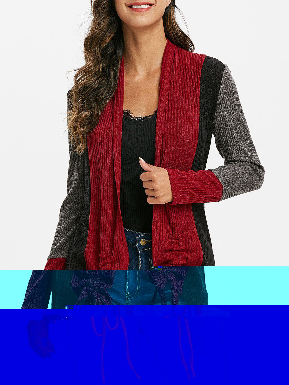 Contrast Ribbed Cinched Open Front Knit Coat - multicolor A 3XL