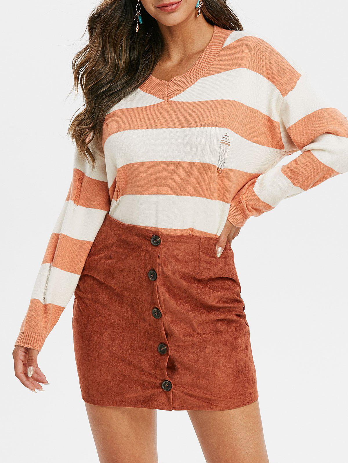 Distressed Pull rayé - Tangerine ONE SIZE