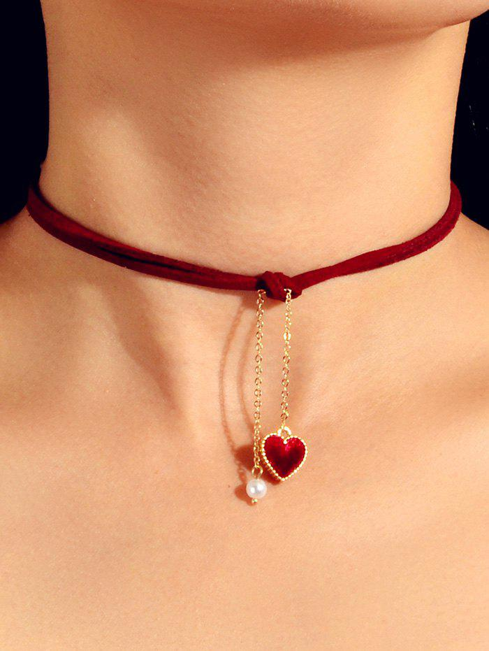 Heart Faux Pearl Rope Pendant Choker Necklace - RED WINE