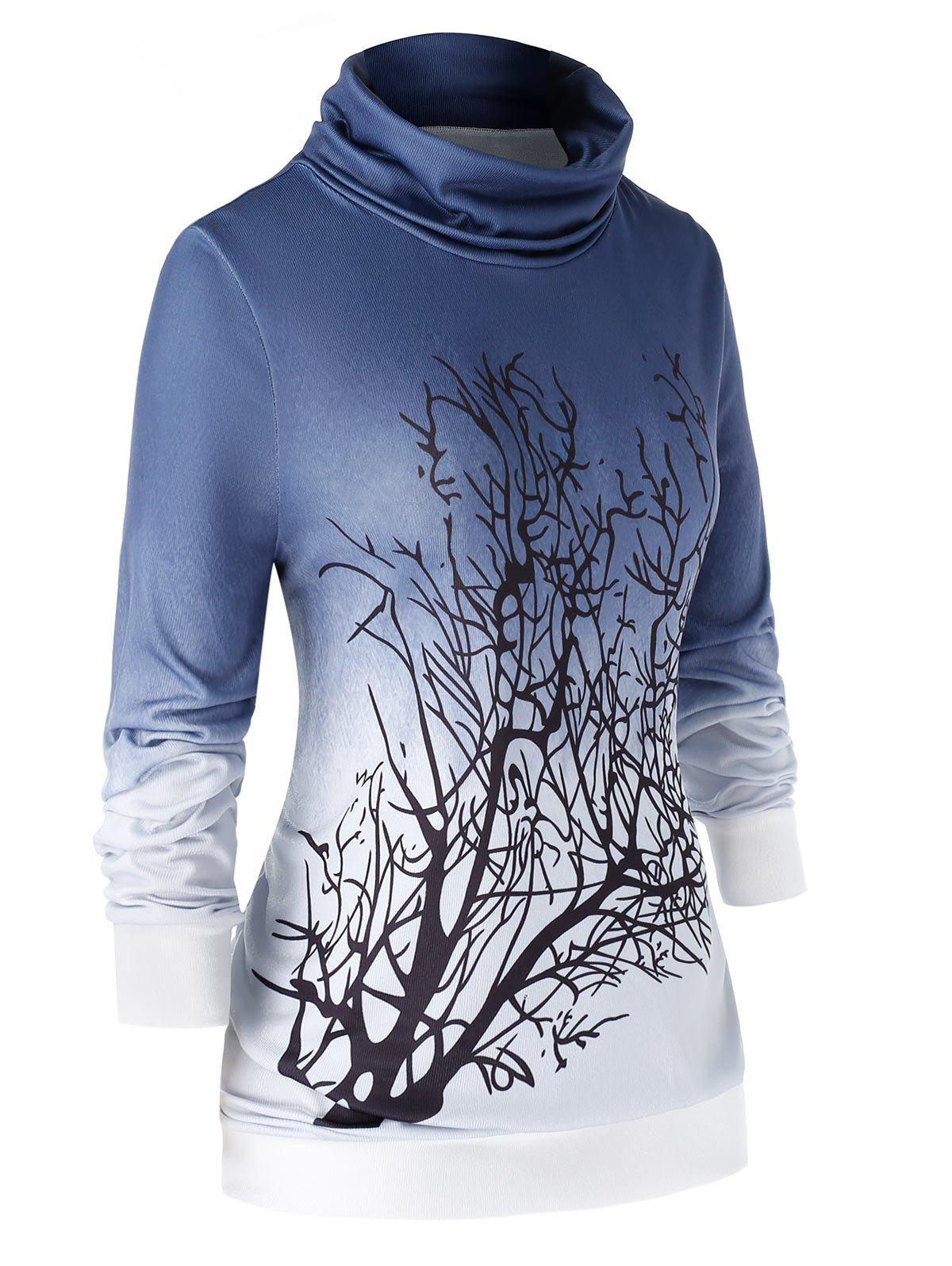 Plus Size Cowl Neck Ombre Sweat Arbre - Bleu Lapis 2X