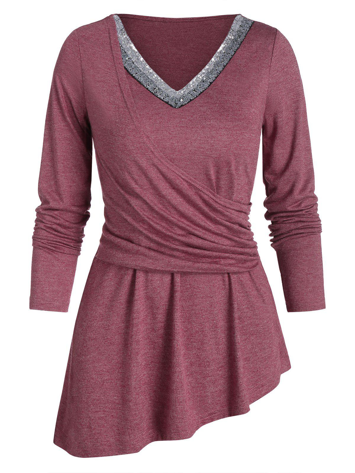 Longline Paillette V Neck High Low Long Sleeve Top - RED WINE XL