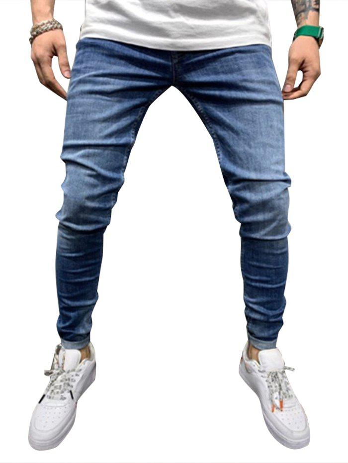 Solid Color Design Drawstring Jeans - DODGER BLUE L