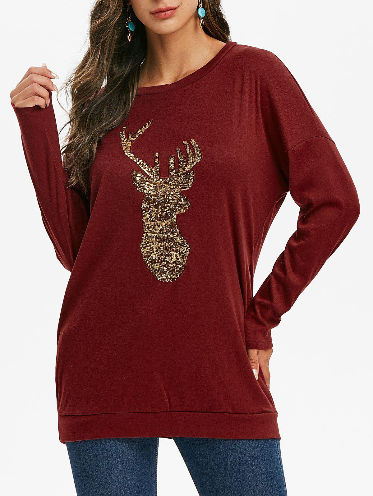 Sequined Reindeer Christmas Longline Sweatshirt - RED WINE S