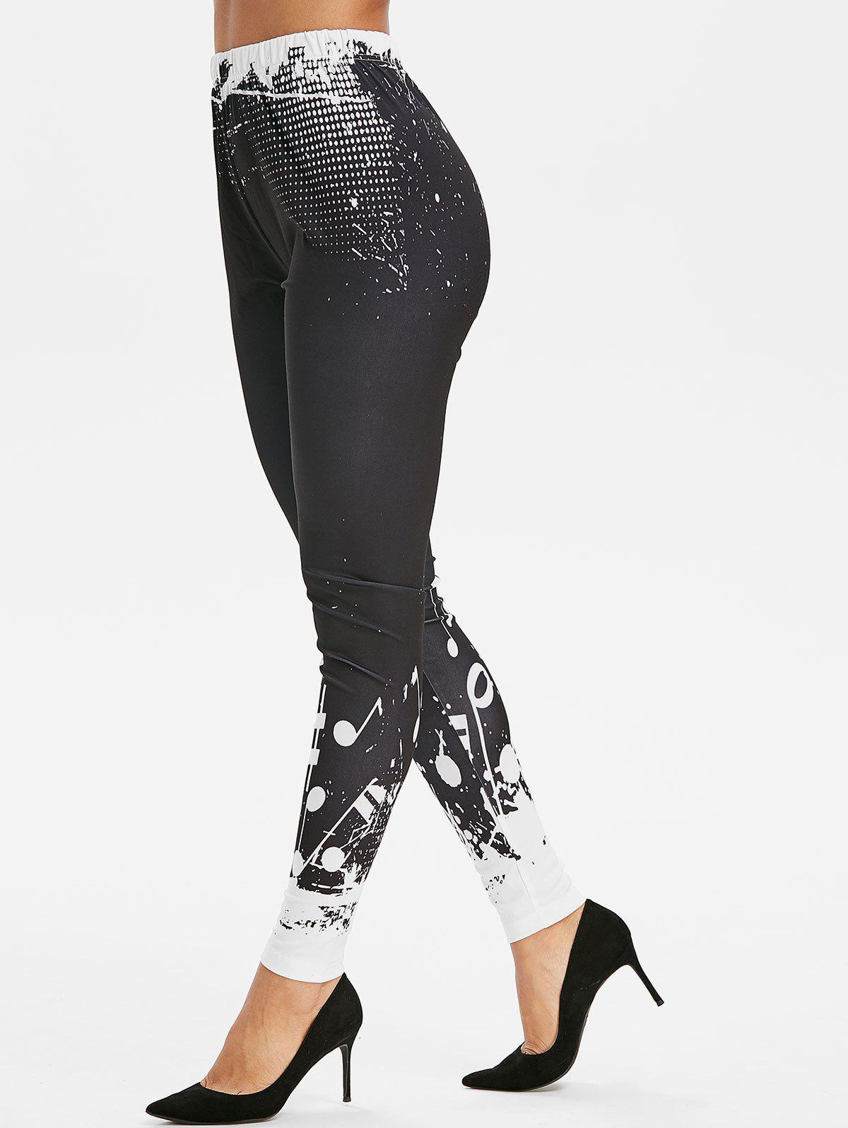 High Waist Musical Notes Print Leggings - BLACK M