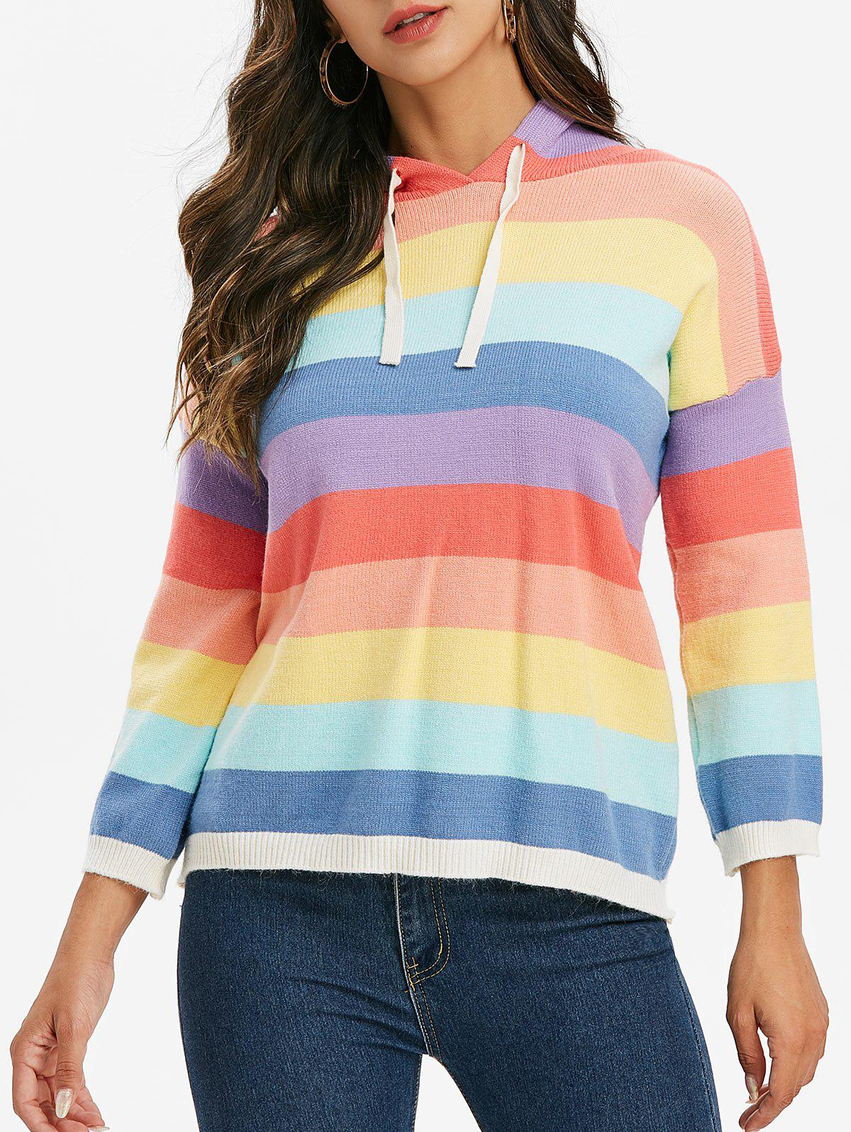 Hooded Rainbow Striped Sweater - multicolor ONE SIZE
