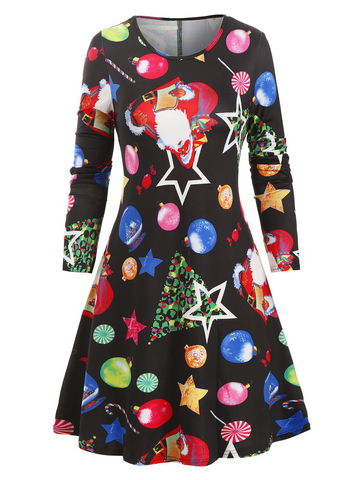 Santa Claus Gifts Christmas Mini Dress - multicolor D L