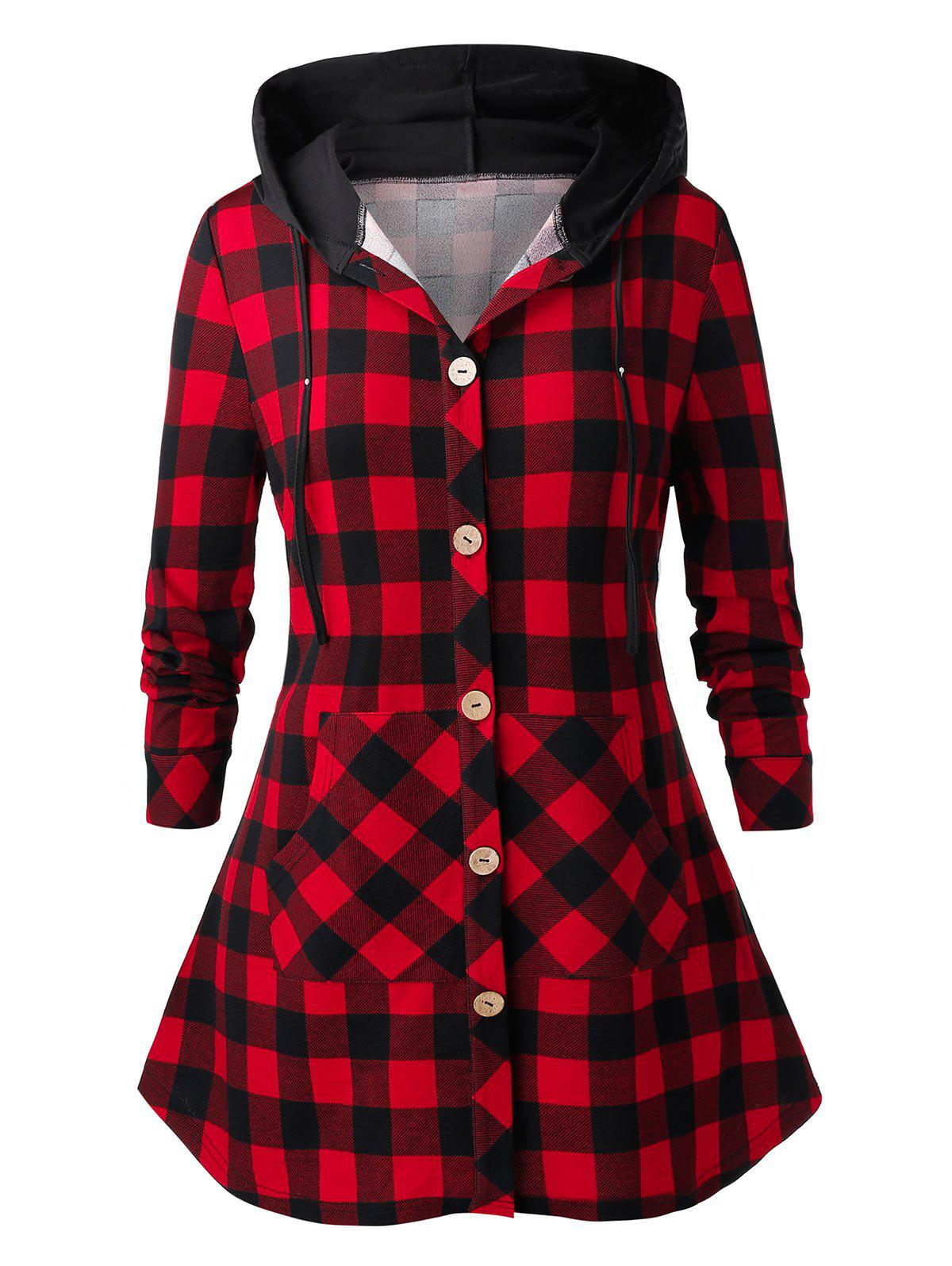 Plus Size Hooded Front Pockets Plaid Shirt - CHERRY RED L
