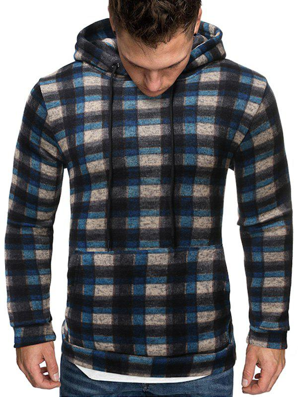 Plaid Pattern Knitted Hoodie - CADETBLUE L