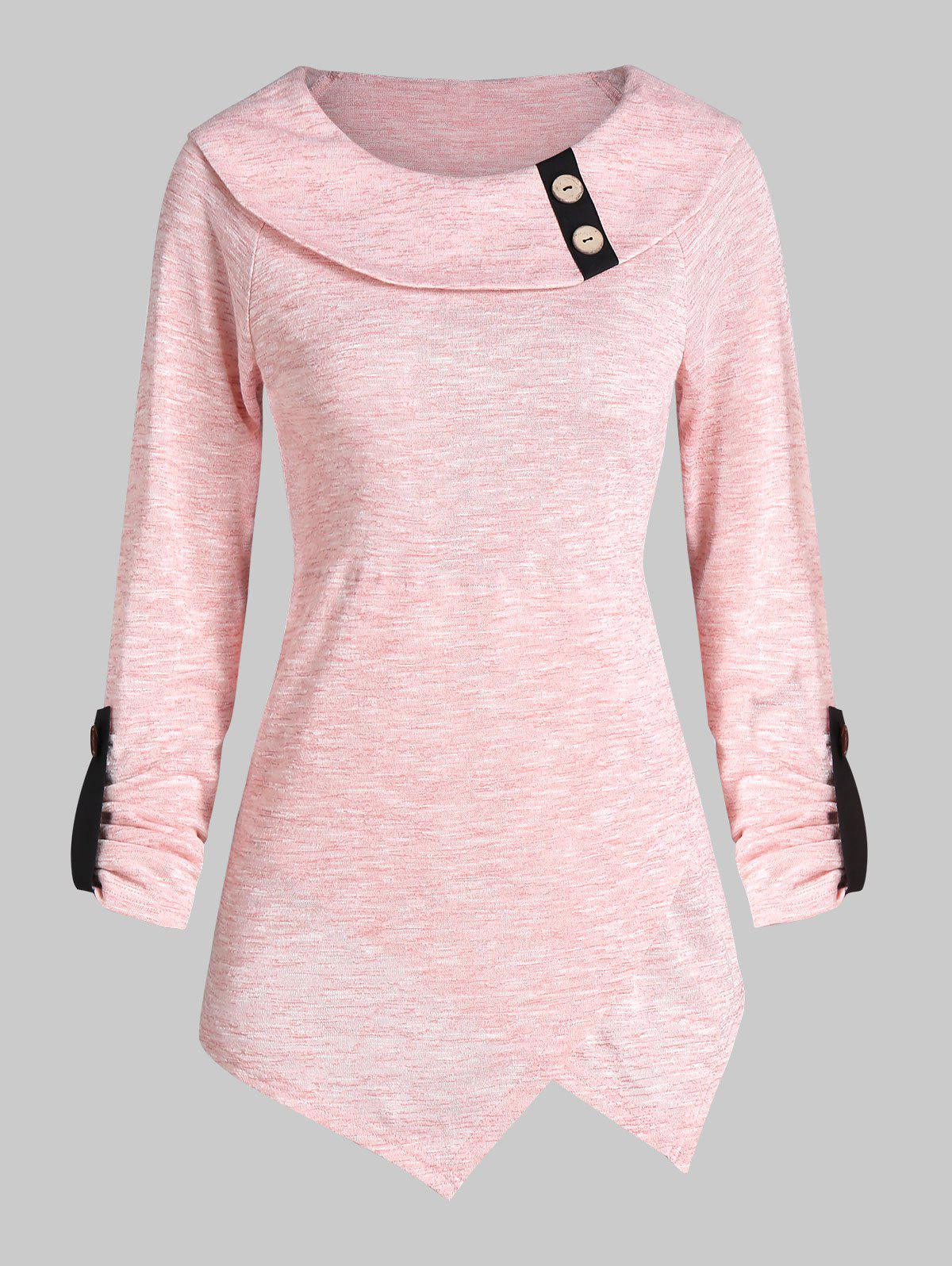 Button Space Dye Longline Long Sleeve Top - PIG PINK 2XL