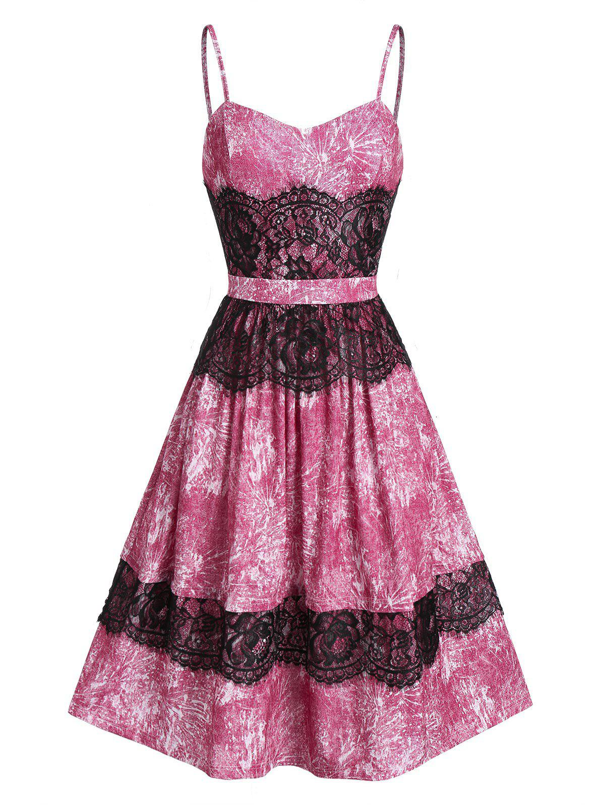 Sweetheart Neck Lace Fit And Flare Lace Strap Dress - multicolor A 2XL