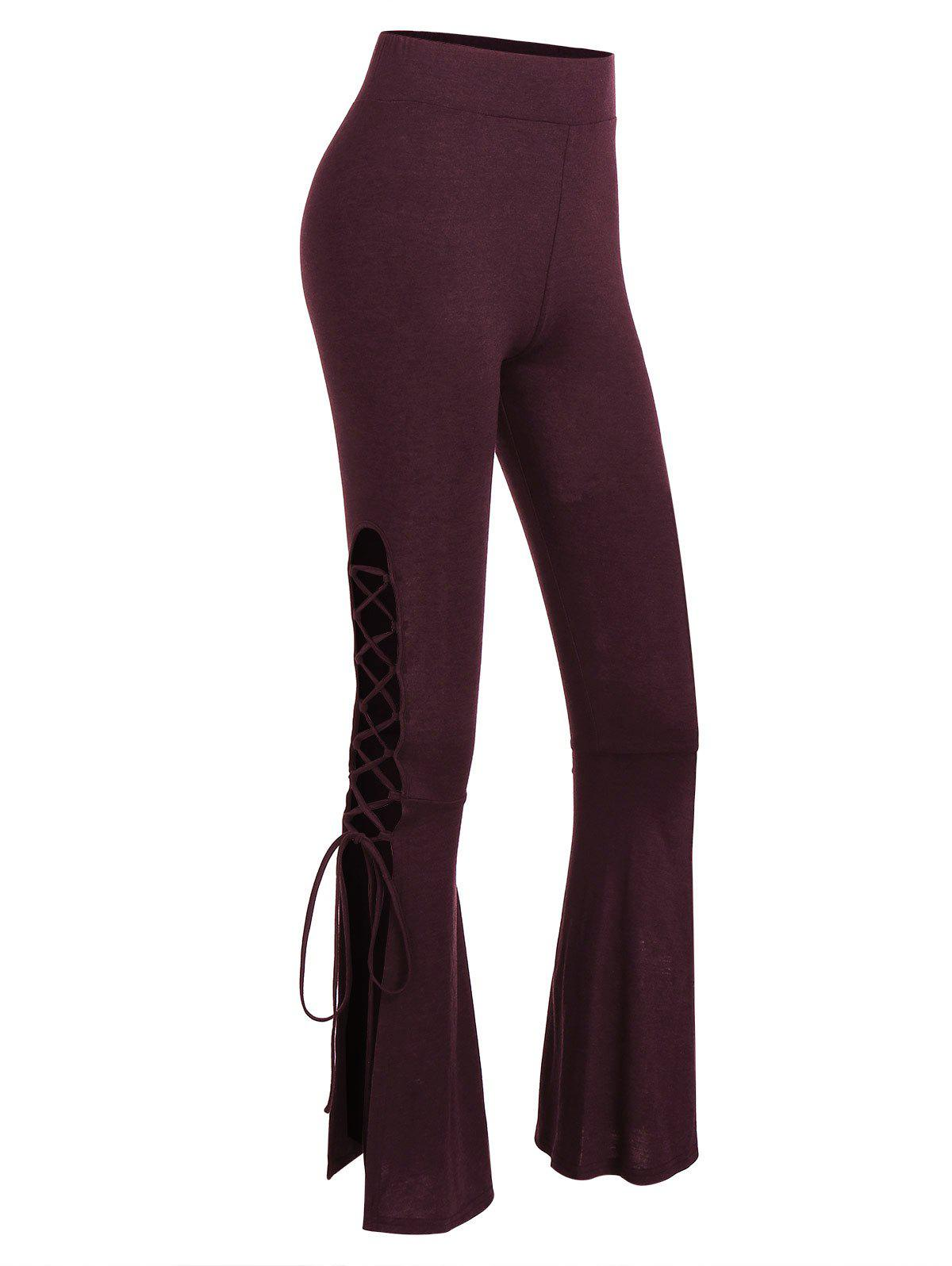 Lace Up Bell Bottom Pants - RED WINE L