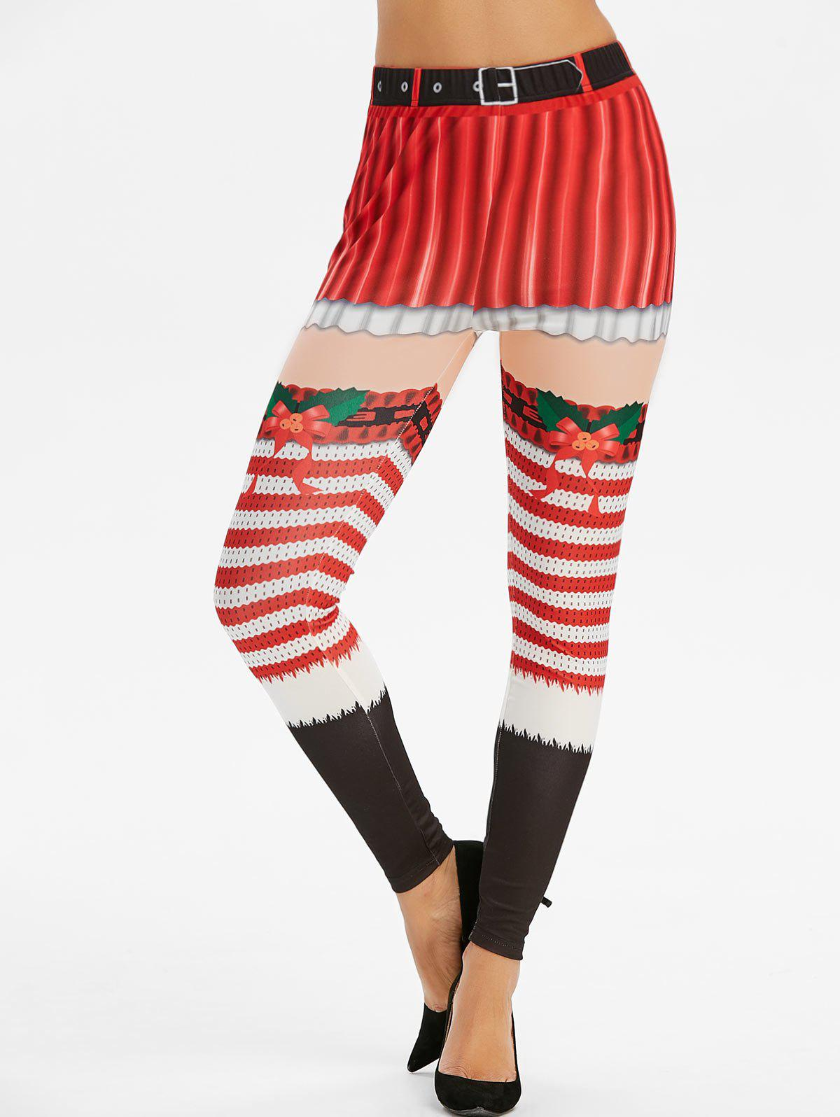 Christmas Striped Print High Waisted Skinny Leggings - RED L