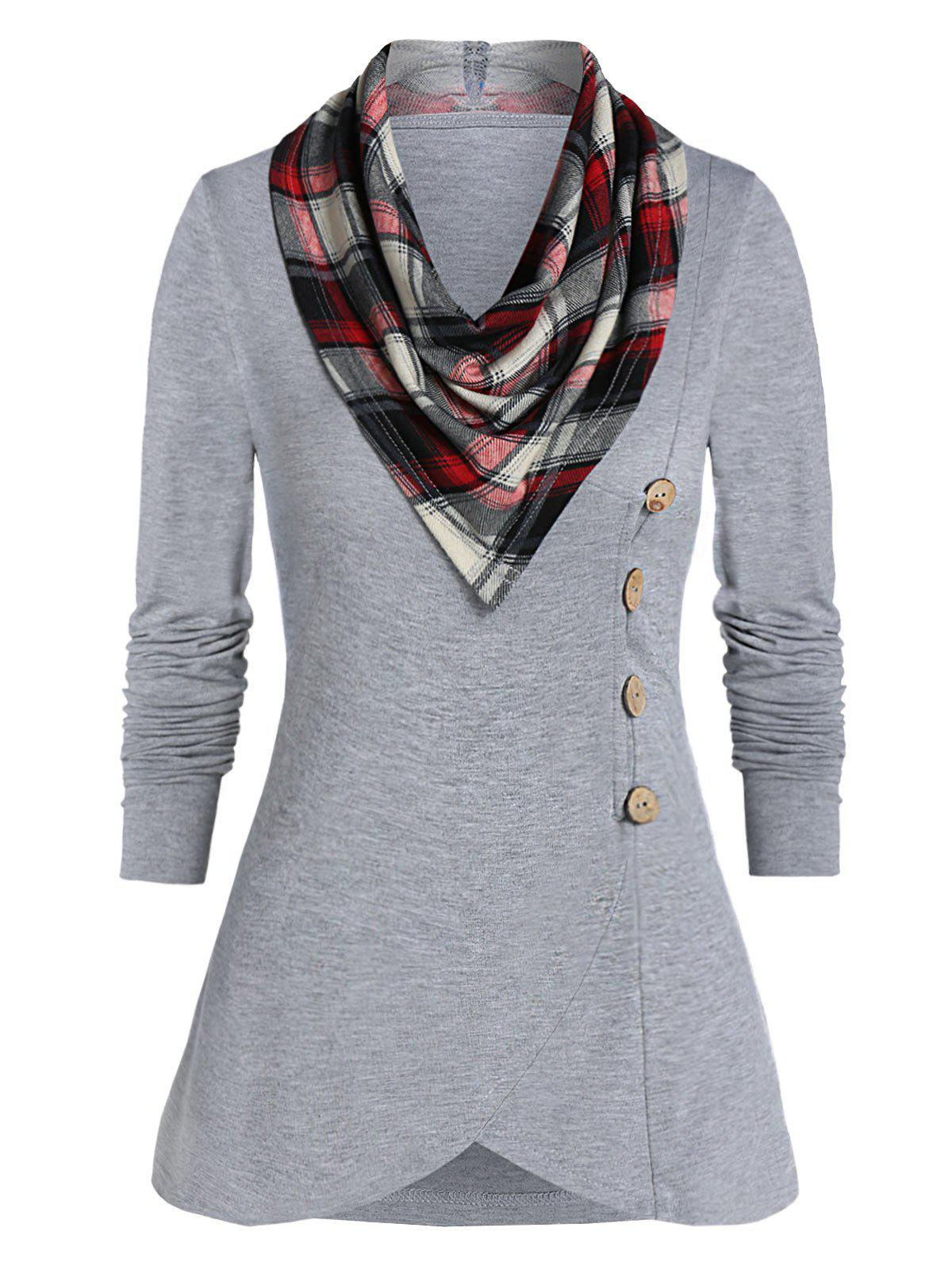 Button T Shirt with Plaid Cowl Neck - DARK GRAY M
