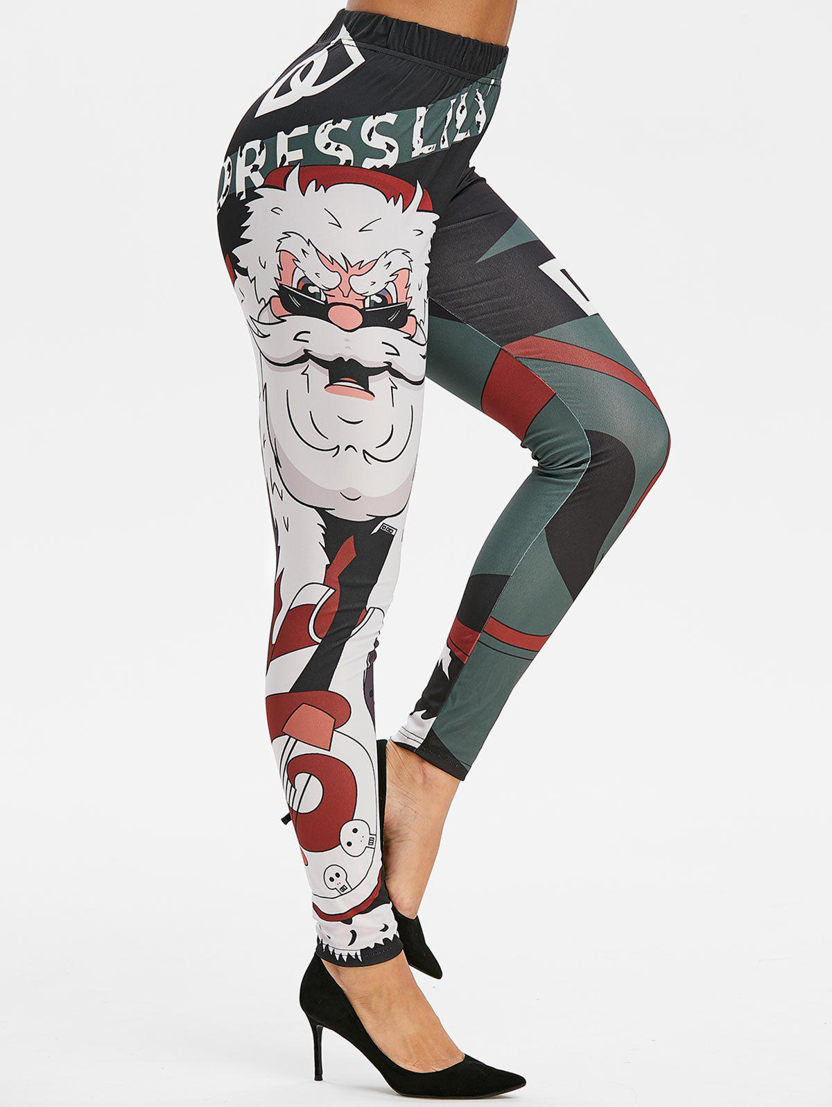 Noël Printed Leggings Maigre - Noir 3XL