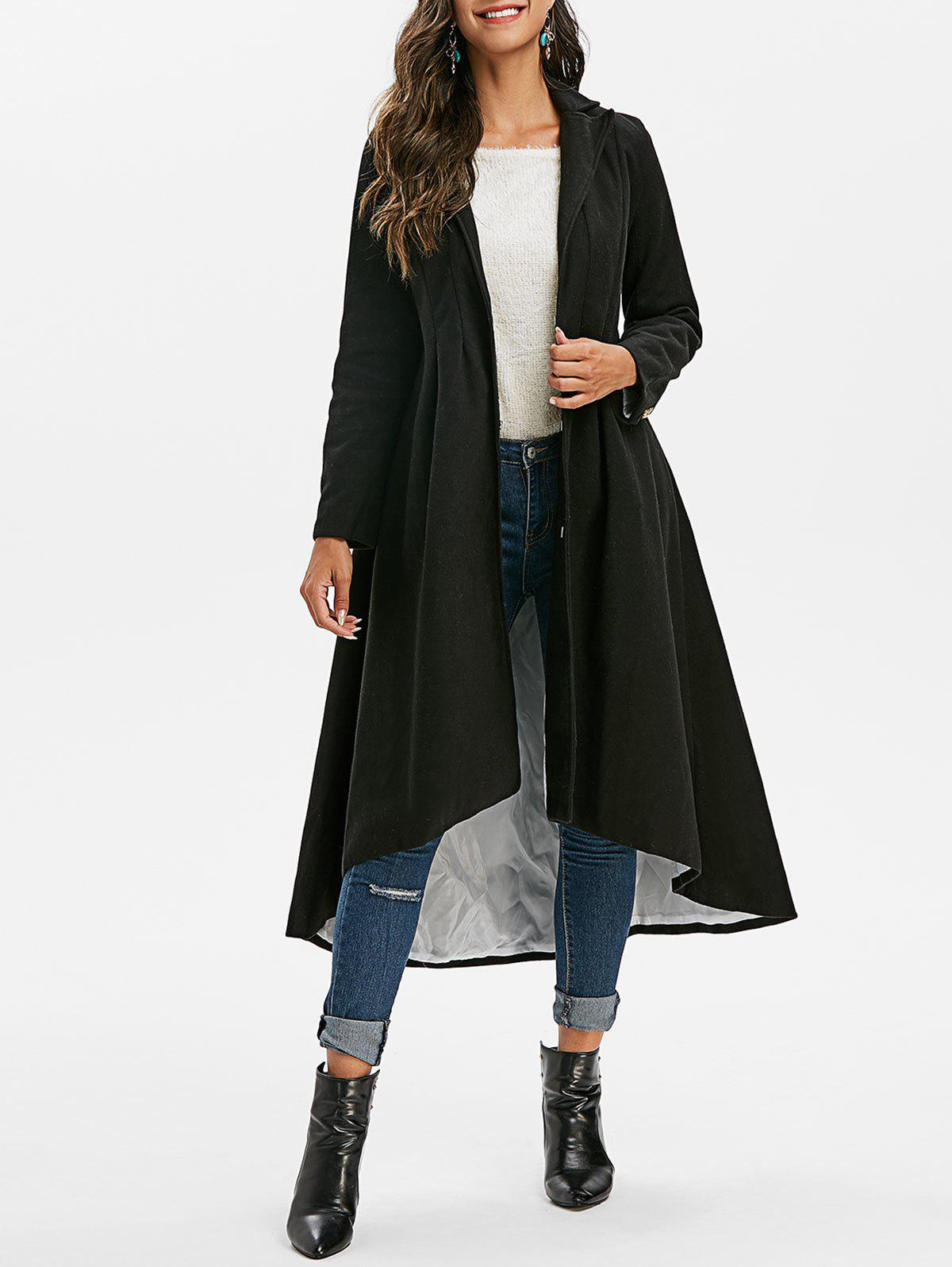 Mock Button Lapel High Low Coat - BLACK XL