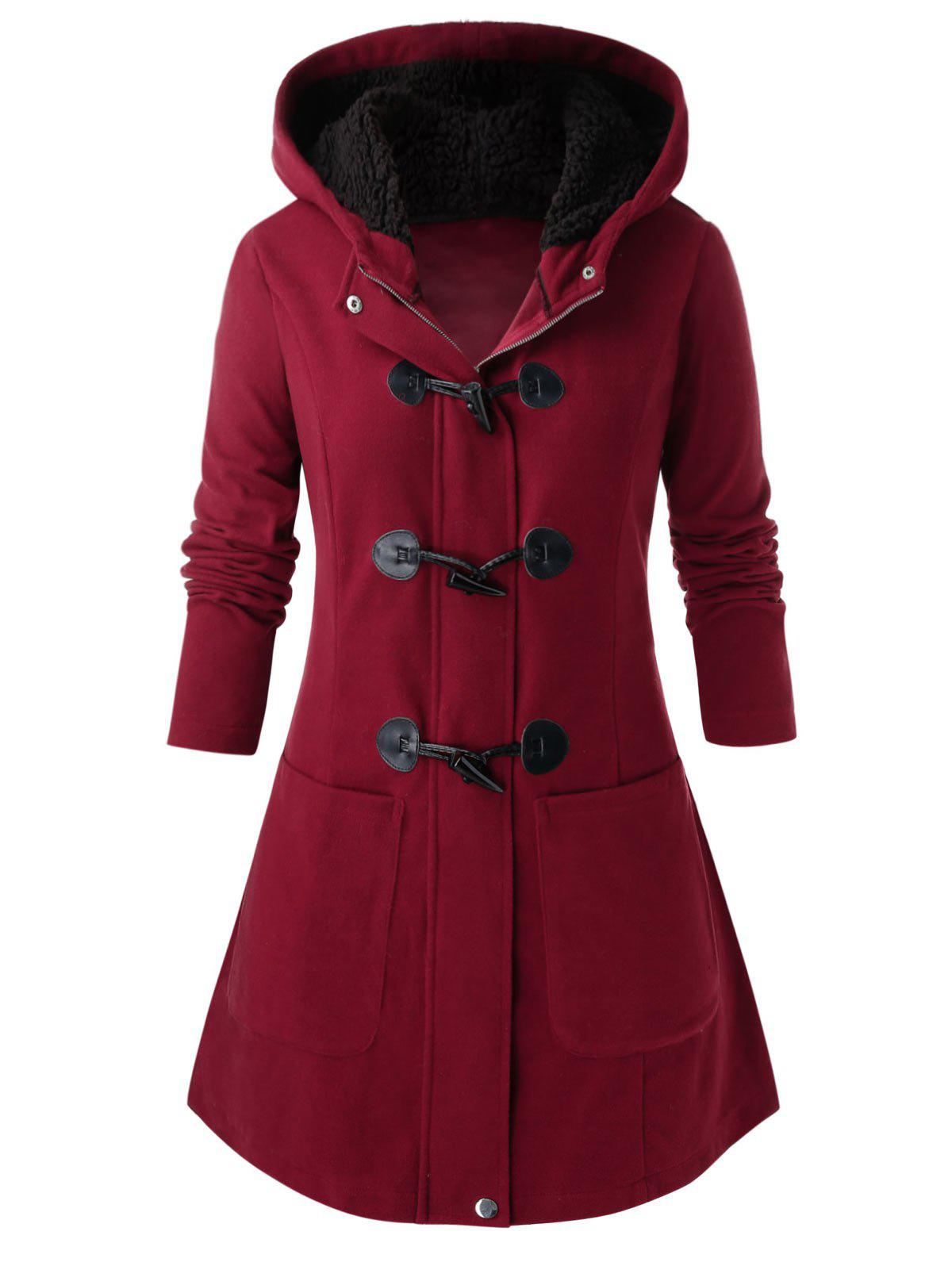 Plus Size Faux Fur Hooded Horn Button Coat - RED WINE 4X