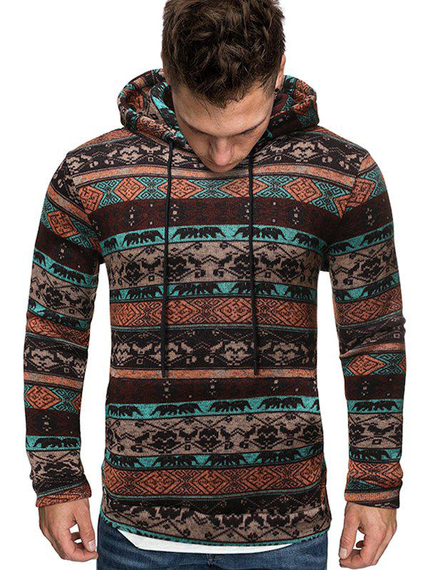 Tribal Printed Kangaroo Pocket Hoodie - COFFEE XL