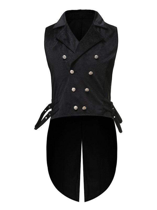 Double Breasted Embossed Decoration Waistcoat - BLACK M
