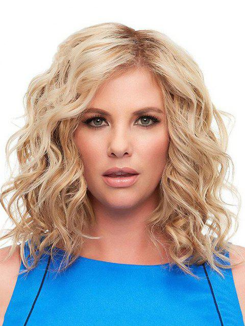 Medium Colormix Side Bang Wavy Synthetic Wig - BLONDE 16INCH