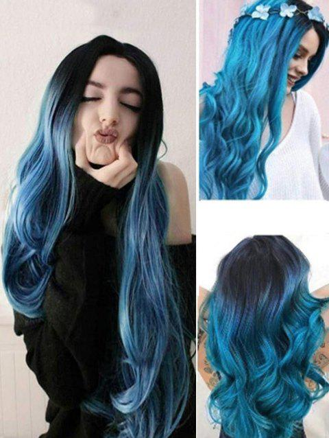 Ombre Long Wavy Synthetic Center Part Wig - BLUE IVY 24INCH