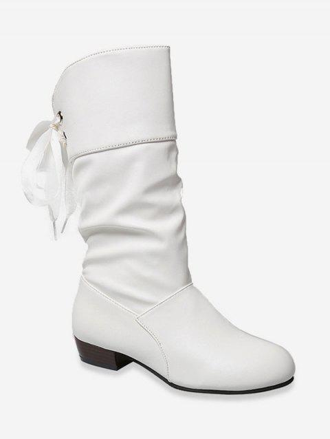 Tie Back PU Leather Mid Calf Boots - NATURAL WHITE EU 39