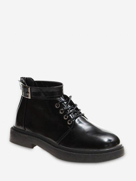 Buckle Strap Round Toe Short Boots - BLACK EU 35