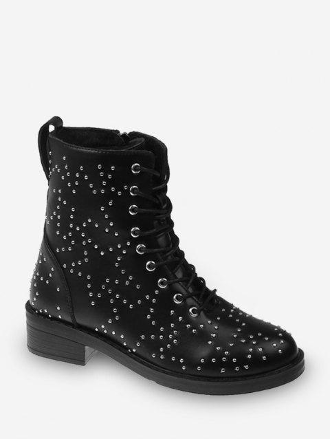 Star Studded Lace Up Ankle Boots - BLACK EU 35