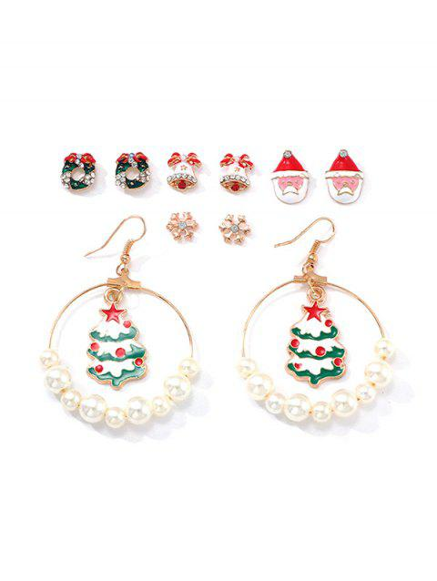 5 Pairs Christmas Tree Santa Snowflake Earrings Set - multicolor