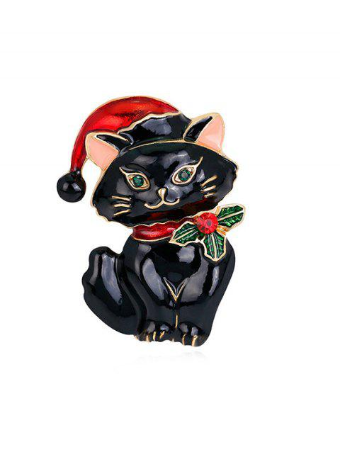 Christmas Hat Cat Rhinestone Brooch - BLACK