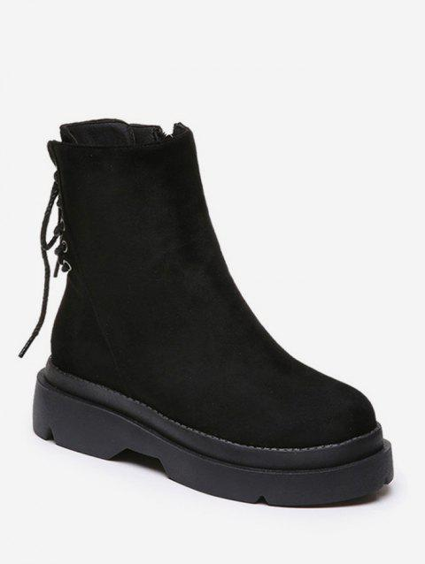 Plain Lace Up Back Suede Platform Boots - BLACK EU 35