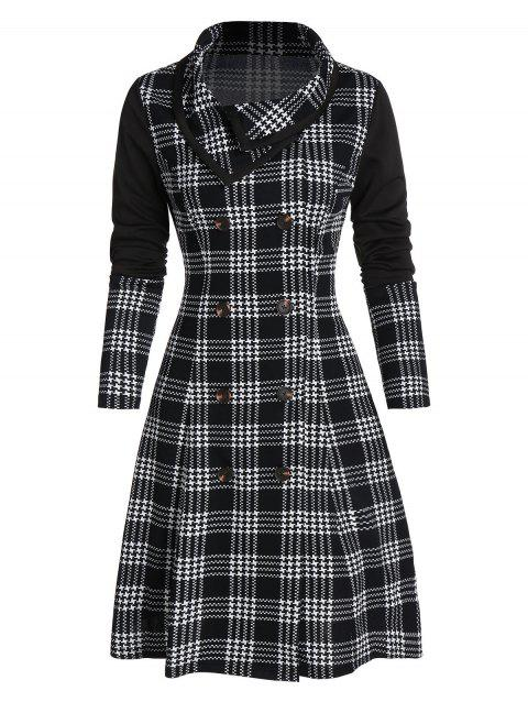 Houndstooth Plaid Print Double Breasted Skirted Coat - BLACK 3XL