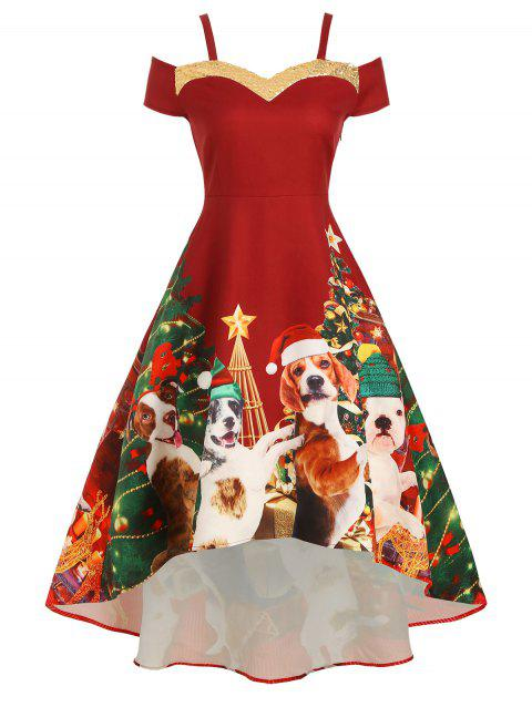 Christmas Tree Dog Print Sequined Cold Shoulder Party Dress - RED WINE M