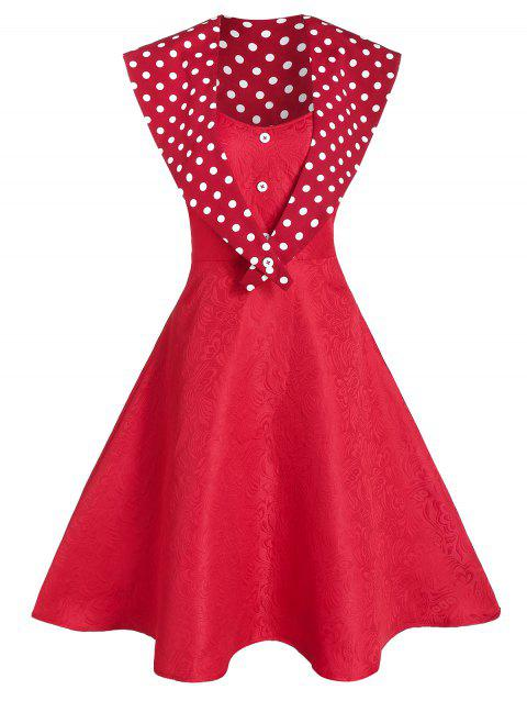 Spaghetti Strap Jacquard Party Dress With Polka Dot Capelet