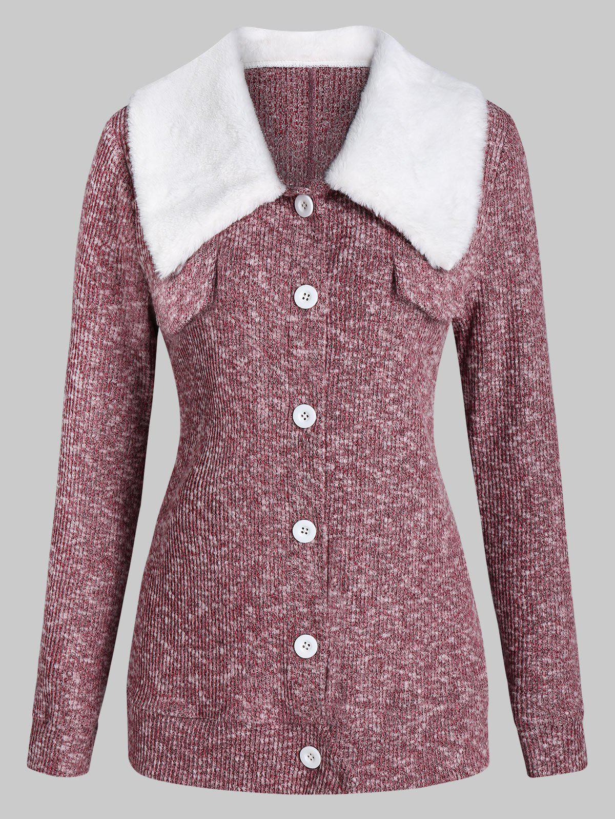 Heathered Faux Fur Collar Button Cardigan - RED WINE 3XL