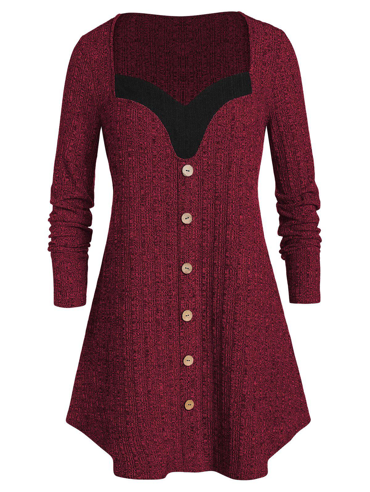 Plus Size Contrast Sweetheart Collar Button Sweater - RED WINE 3X