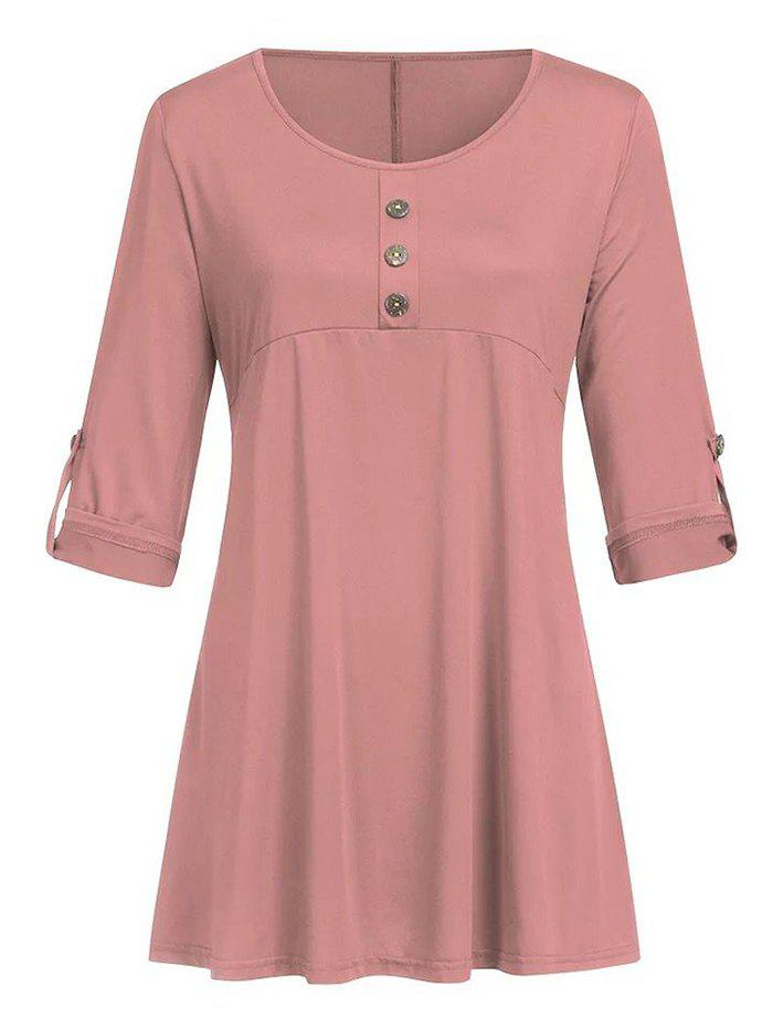 Plus Size Roll Up Sleeve Mock Buttons T Shirt - PINK 3X